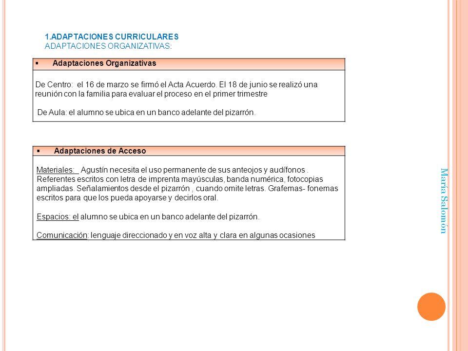 María Salomón ADAPTACIONES CURRICULARES Adaptaciones Organizativas