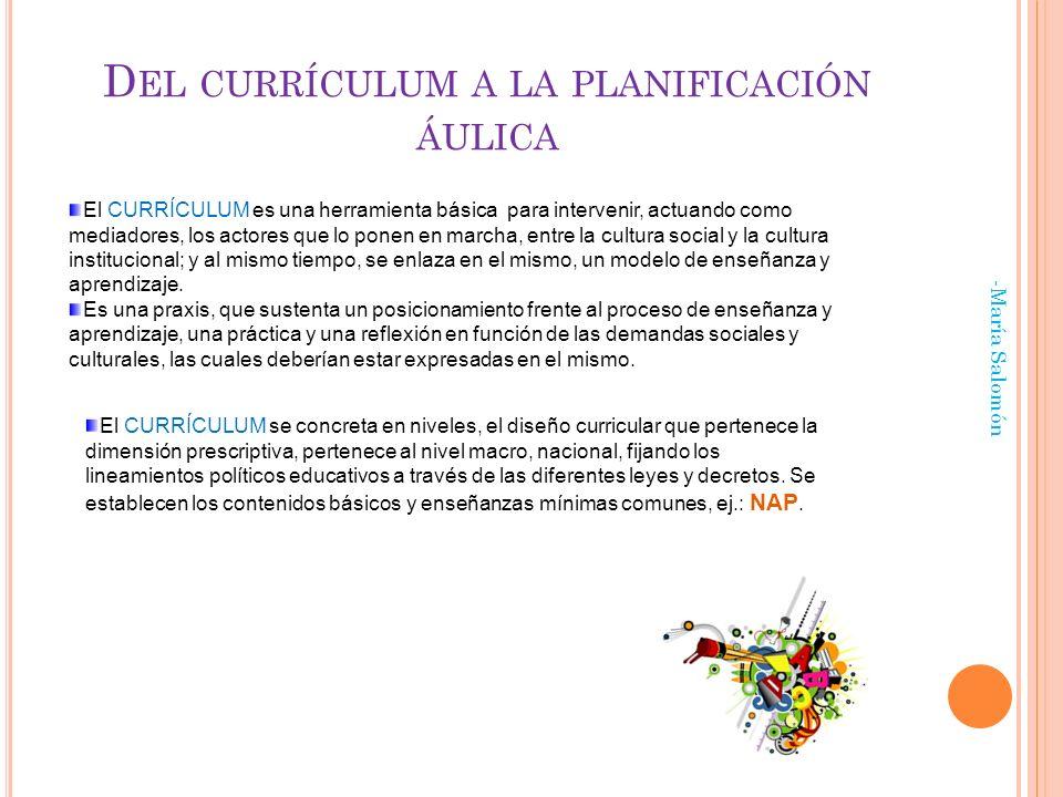 Del currículum a la planificación áulica