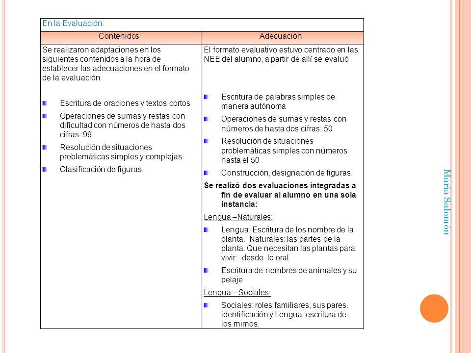María Salomón En la Evaluación: Contenidos Adecuación