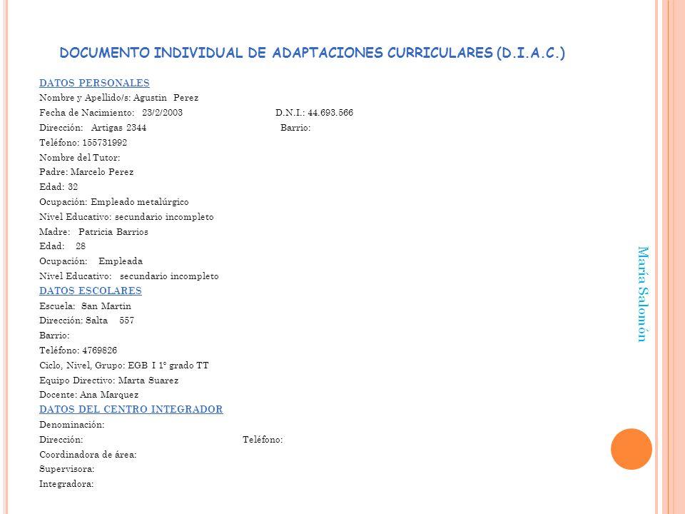DOCUMENTO INDIVIDUAL DE ADAPTACIONES CURRICULARES (D.I.A.C.)
