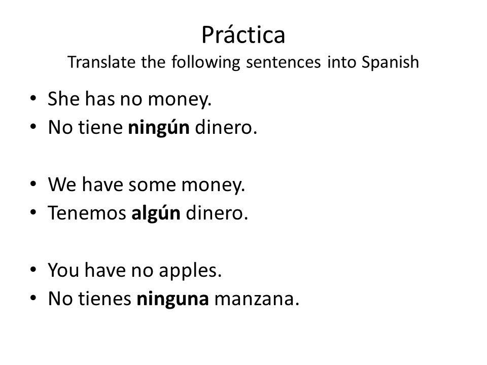 Práctica Translate the following sentences into Spanish