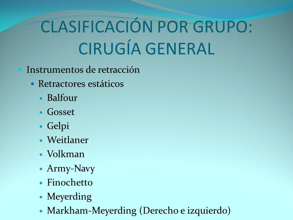 CLASIFICACIÓN POR GRUPO: CIRUGÍA GENERAL