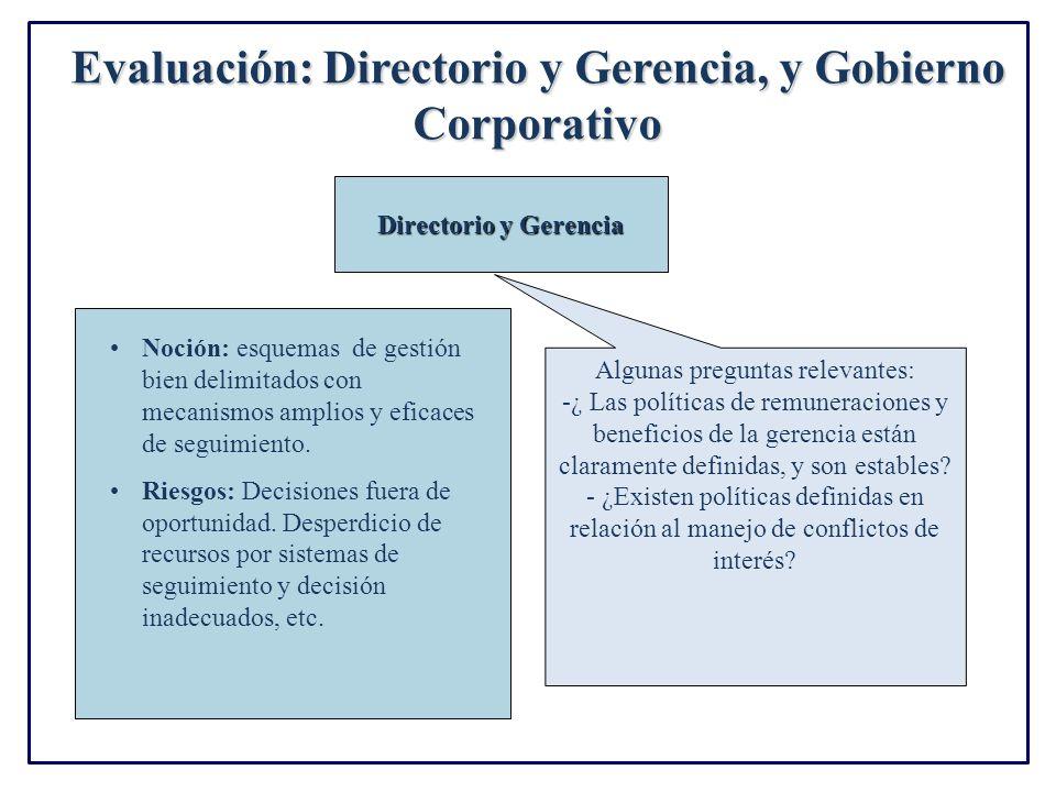 Evaluación: Directorio y Gerencia, y Gobierno Corporativo