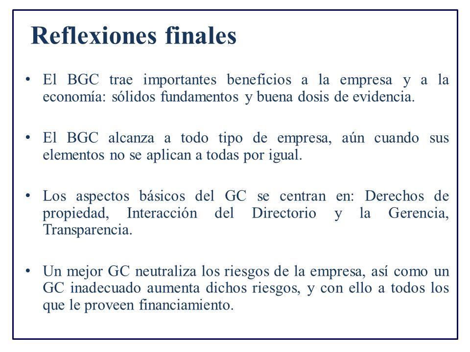 Reflexiones finales El BGC trae importantes beneficios a la empresa y a la economía: sólidos fundamentos y buena dosis de evidencia.