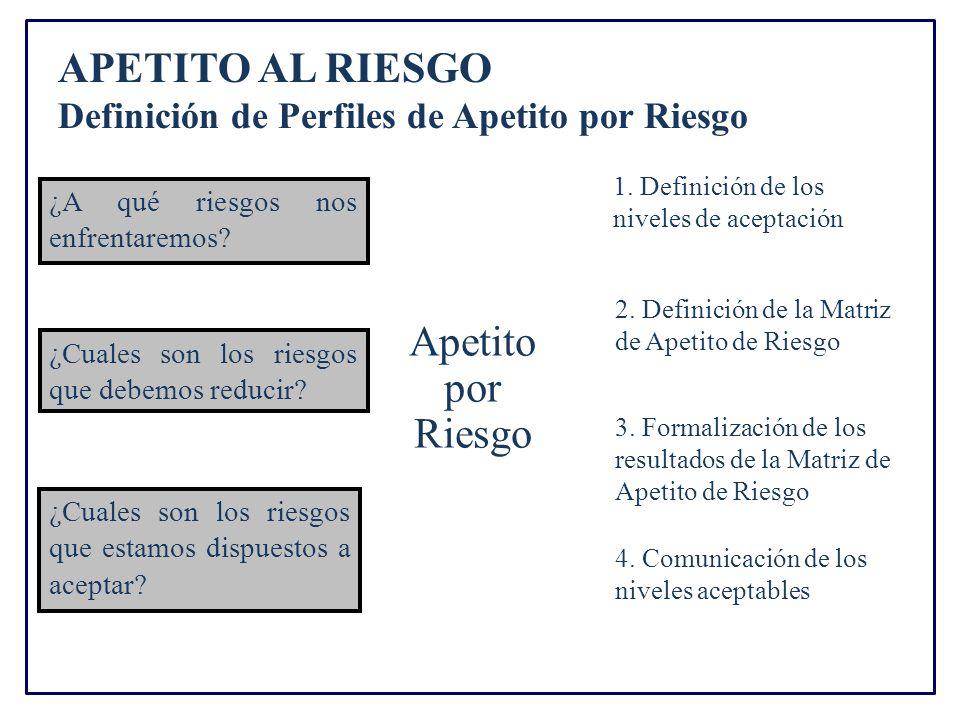 APETITO AL RIESGO Definición de Perfiles de Apetito por Riesgo