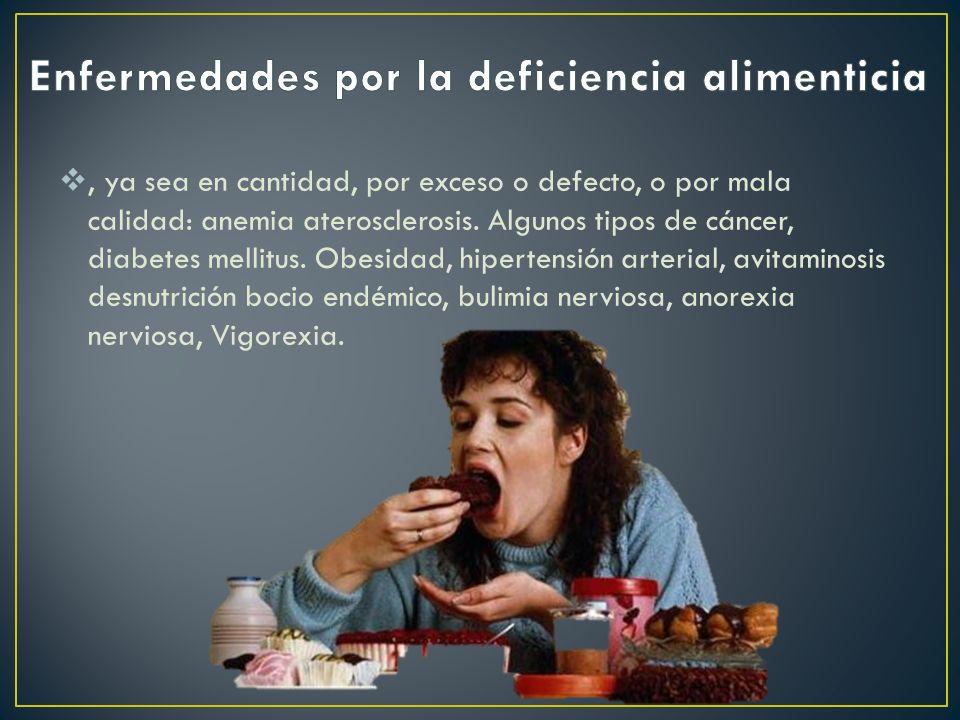 Enfermedades por la deficiencia alimenticia