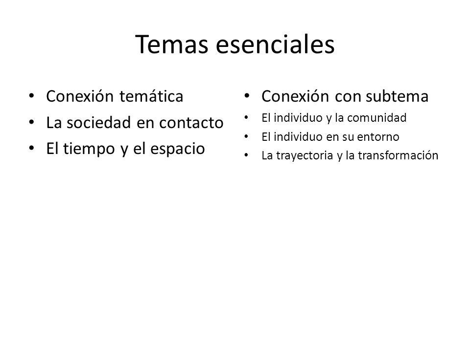 Temas esenciales Conexión temática La sociedad en contacto