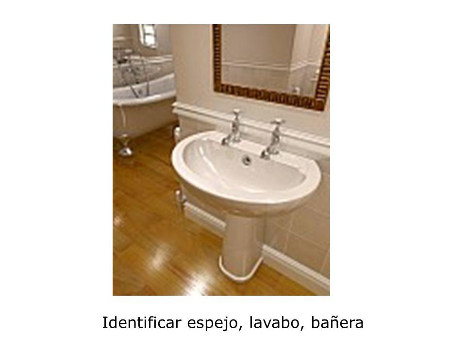 Identificar espejo, lavabo, bañera