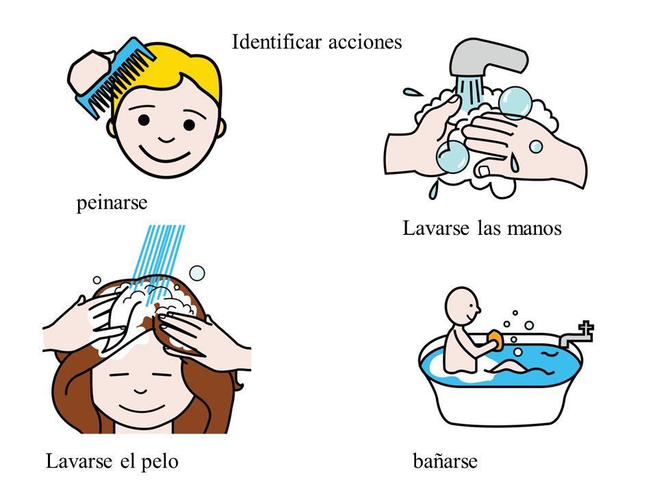 Identificar acciones peinarse Lavarse las manos Lavarse el pelo bañarse