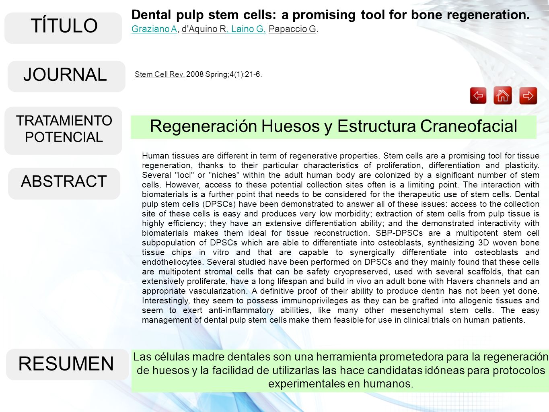 TÍTULO RESUMEN JOURNAL Regeneración Huesos y Estructura Craneofacial