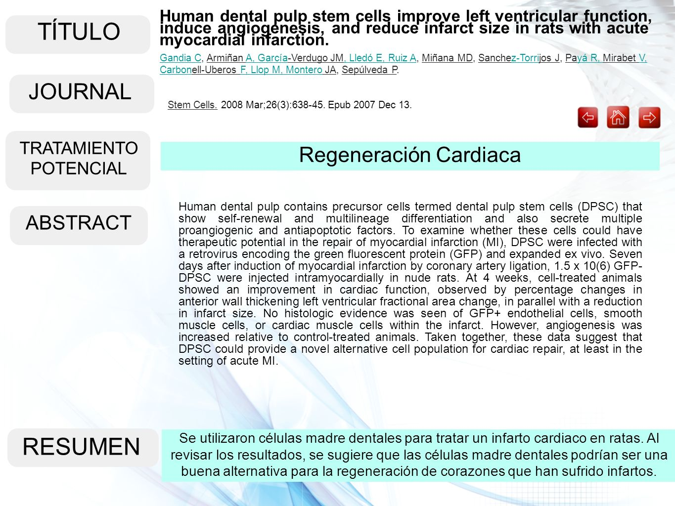 TÍTULO RESUMEN JOURNAL Regeneración Cardiaca ABSTRACT