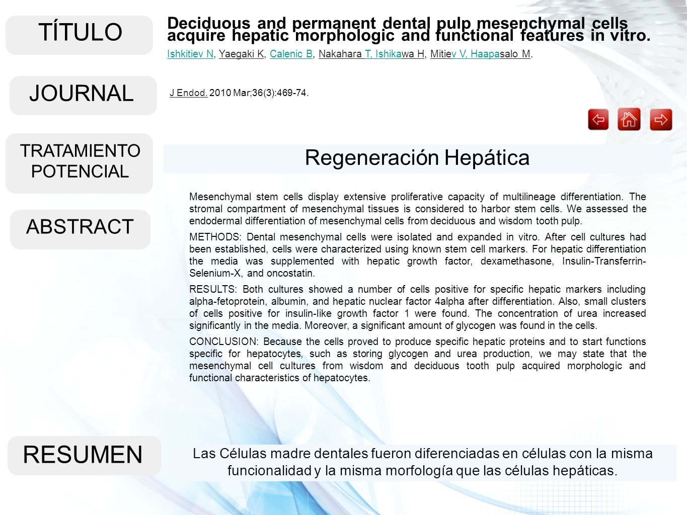 TÍTULO RESUMEN JOURNAL Regeneración Hepática ABSTRACT