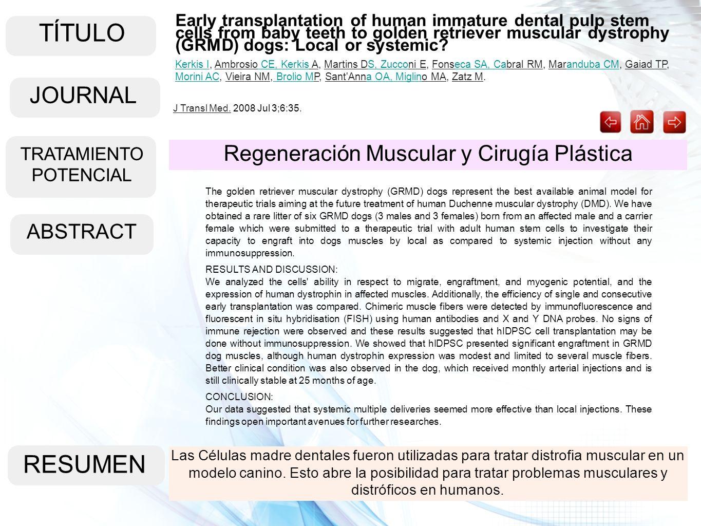 TÍTULO RESUMEN JOURNAL Regeneración Muscular y Cirugía Plástica