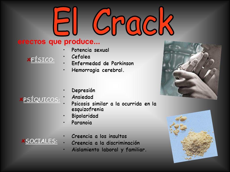El Crack eғecтoѕ qυe prodυce... FÍSICO: PSÍQUICOS: SOCIALES: