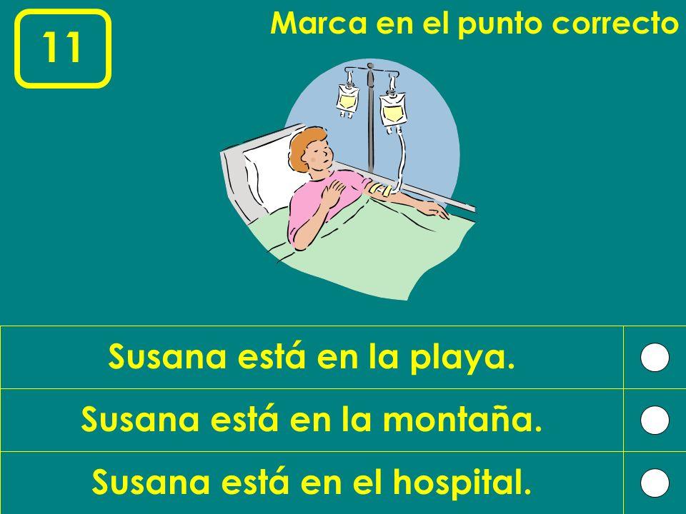 Susana está en la montaña. Susana está en el hospital.