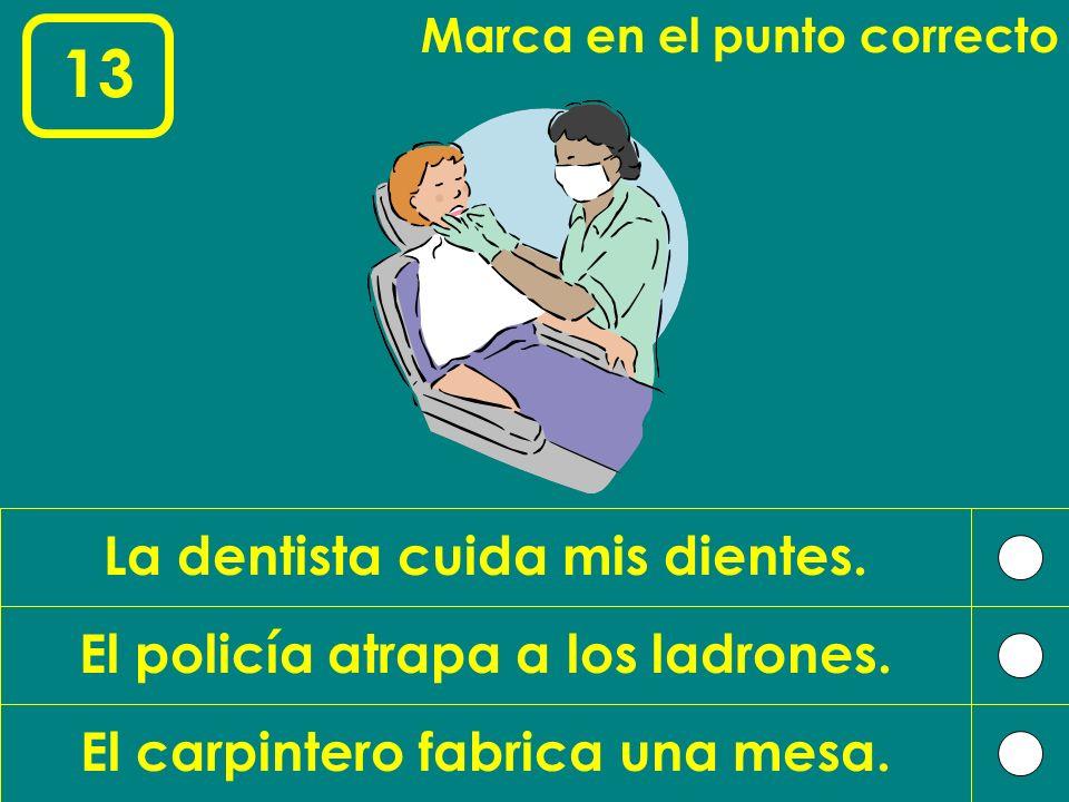 13 La dentista cuida mis dientes. El policía atrapa a los ladrones.