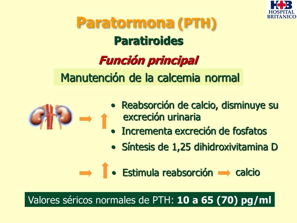 Valores séricos normales de PTH: 10 a 65 (70) pg/ml