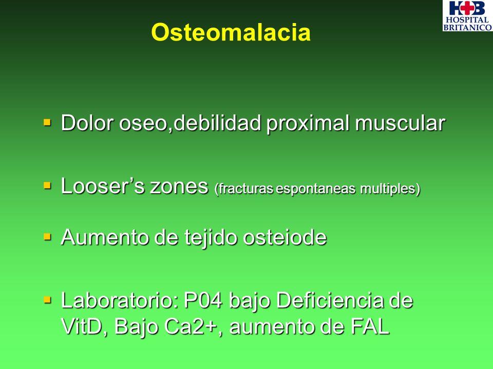 Osteomalacia Dolor oseo,debilidad proximal muscular