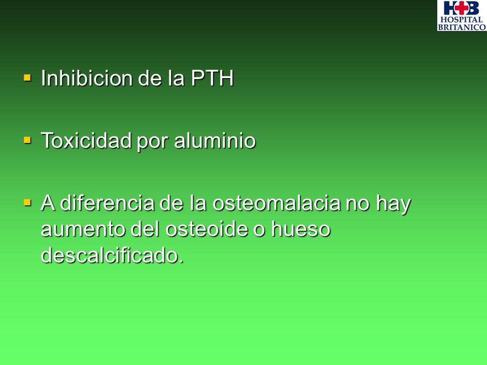 Inhibicion de la PTH Toxicidad por aluminio.