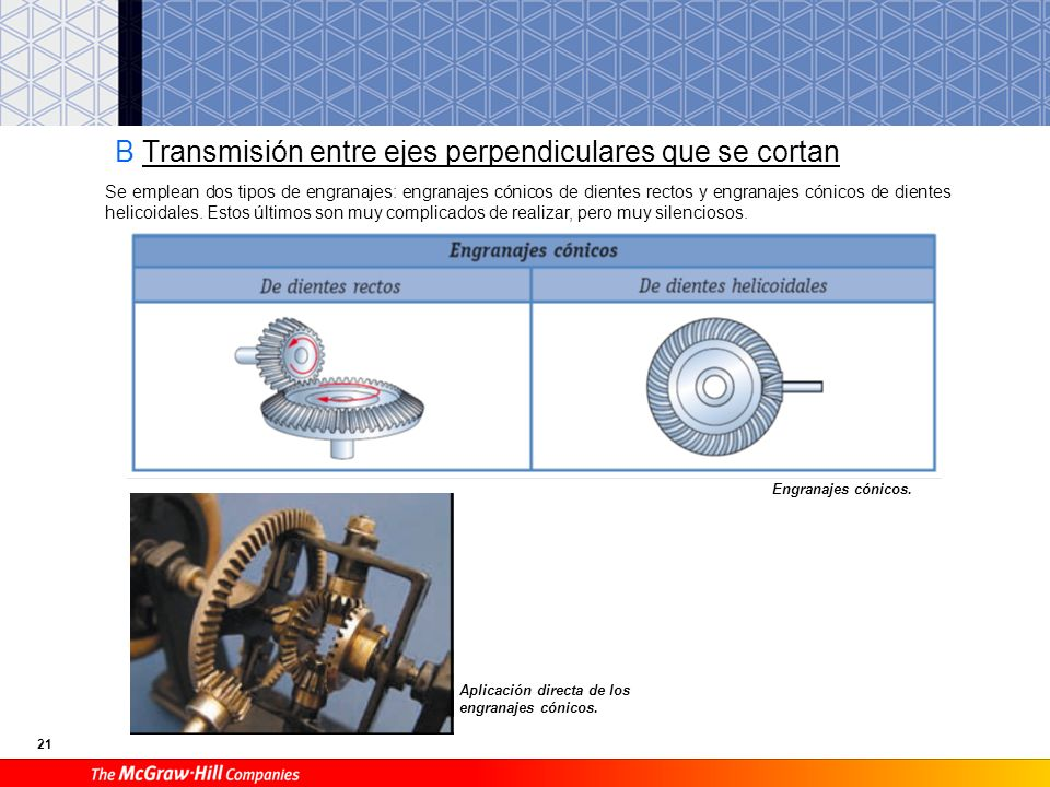 C Transmisión entre ejes perpendiculares que se cruzan