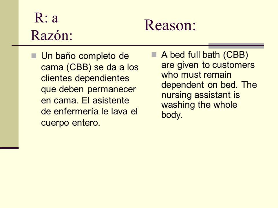 R: a Razón: Reason: