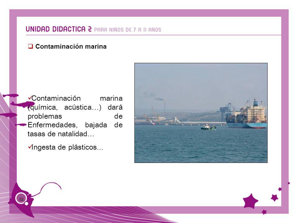 Contaminación marina Contaminación marina (química, acústica…) dará problemas de Enfermedades, bajada de tasas de natalidad…