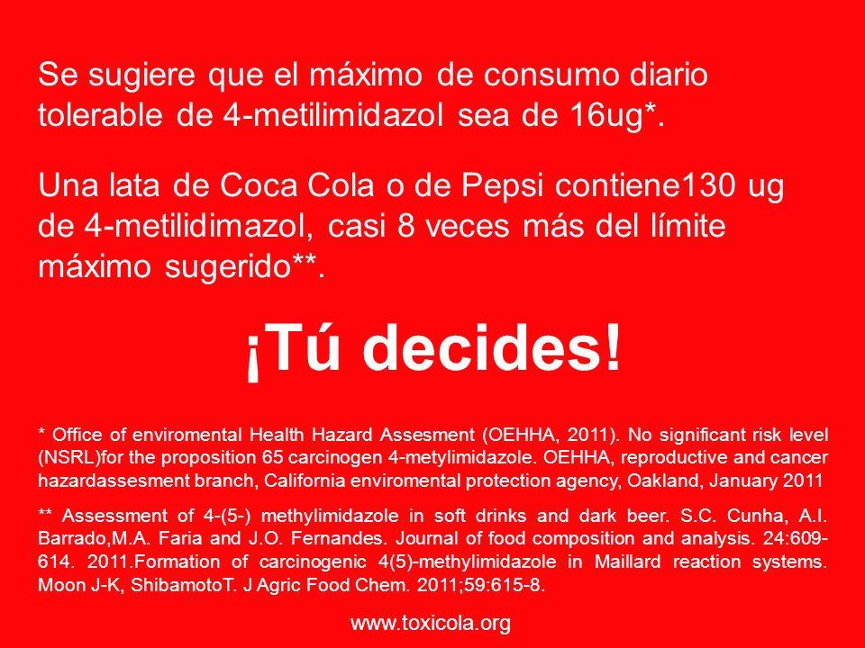 Se sugiere que el máximo de consumo diario tolerable de 4-metilimidazol sea de 16ug*.