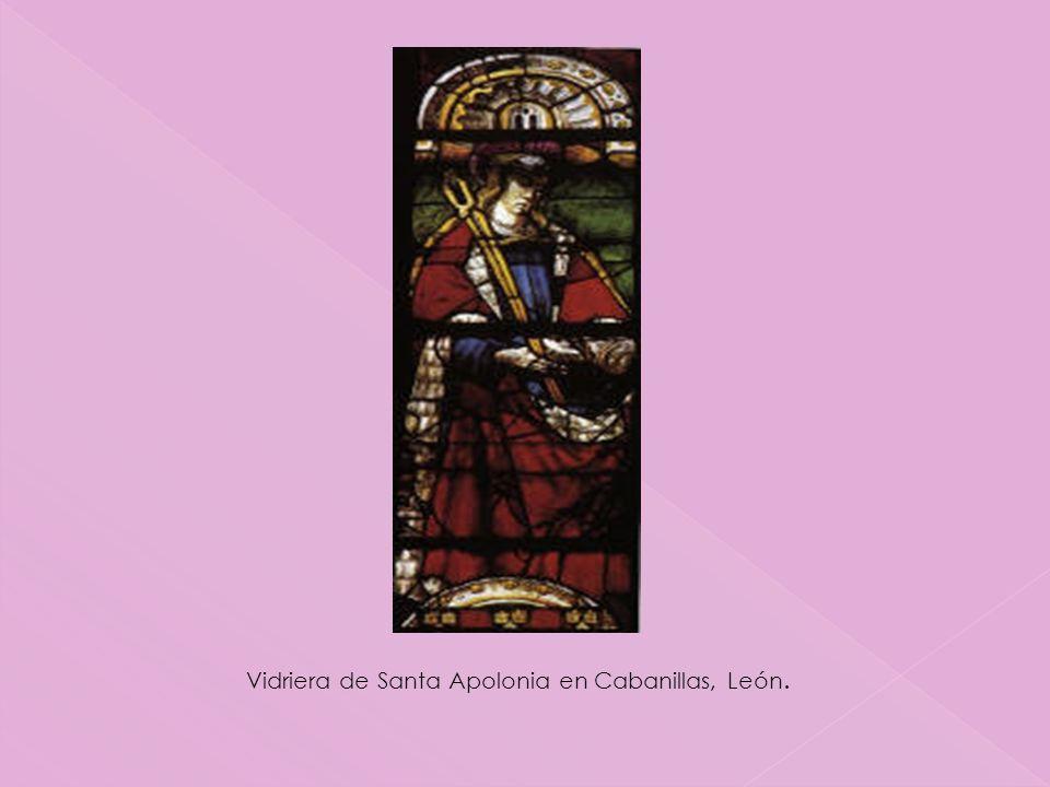 Vidriera de Santa Apolonia en Cabanillas, León.