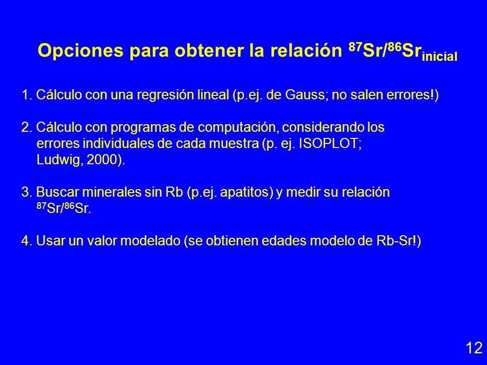 Opciones para obtener la relación 87Sr/86Srinicial