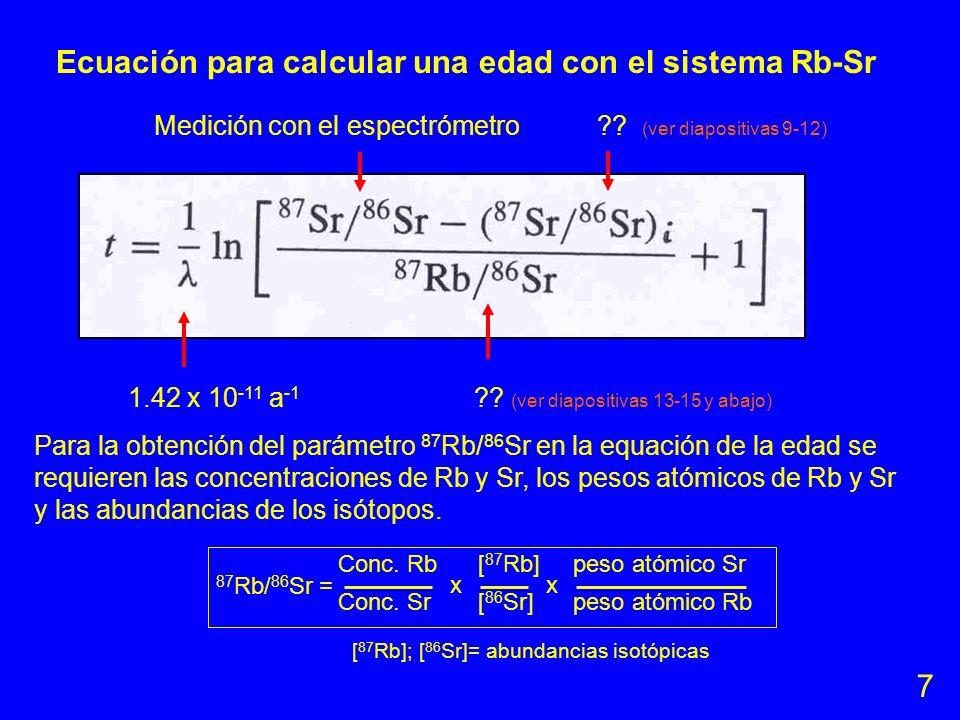Ecuación para calcular una edad con el sistema Rb-Sr