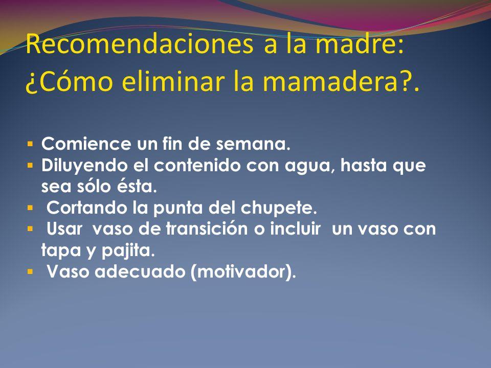 Recomendaciones a la madre: ¿Cómo eliminar la mamadera .