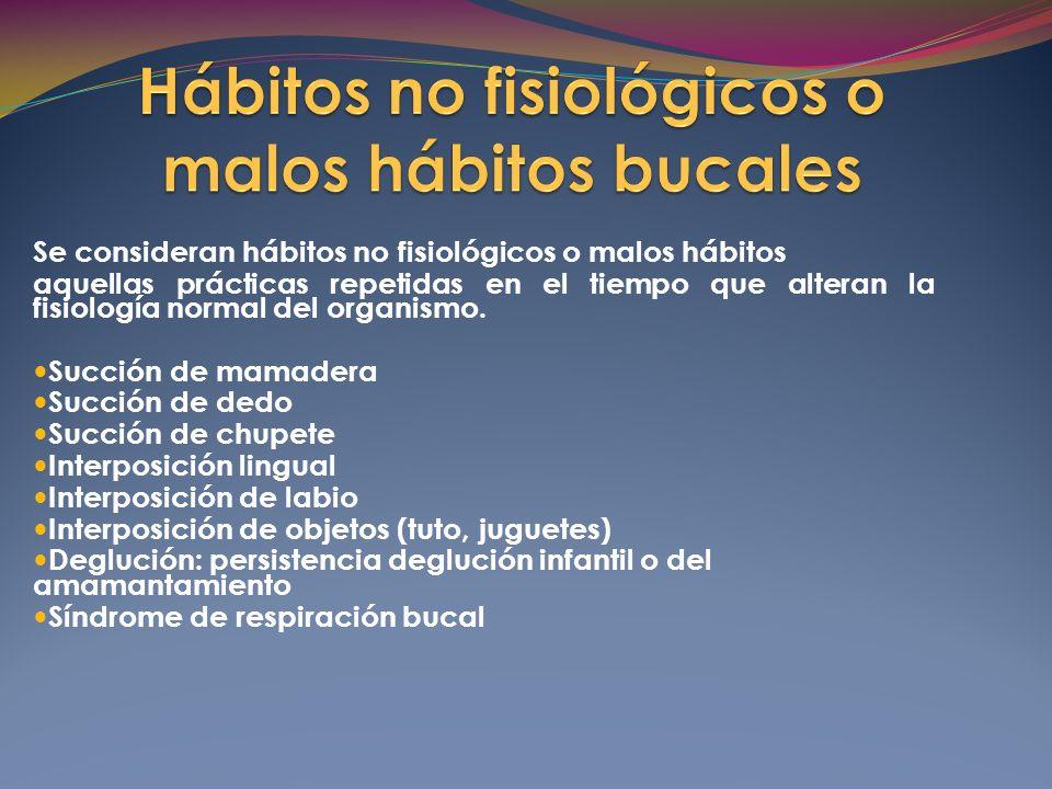 Se consideran hábitos no fisiológicos o malos hábitos