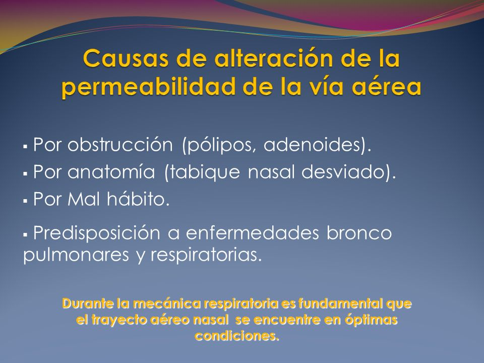 Por obstrucción (pólipos, adenoides).