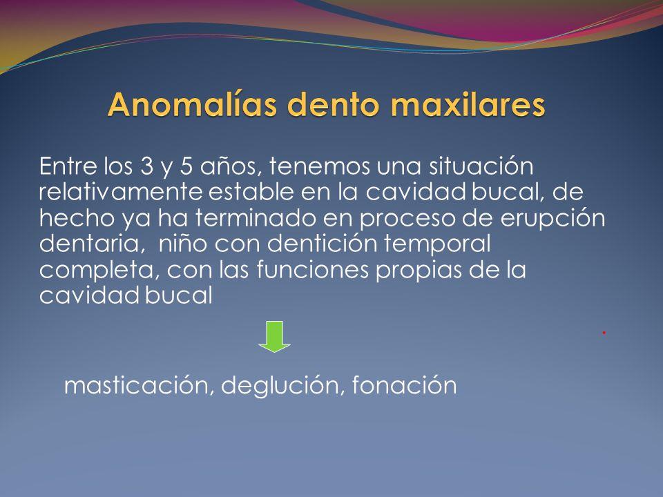 Entre los 3 y 5 años, tenemos una situación relativamente estable en la cavidad bucal, de hecho ya ha terminado en proceso de erupción dentaria, niño con dentición temporal completa, con las funciones propias de la cavidad bucal