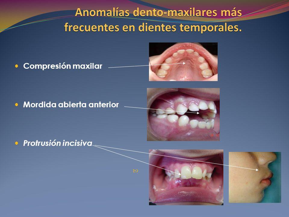 Compresión maxilar Mordida abierta anterior Protrusión incisiva