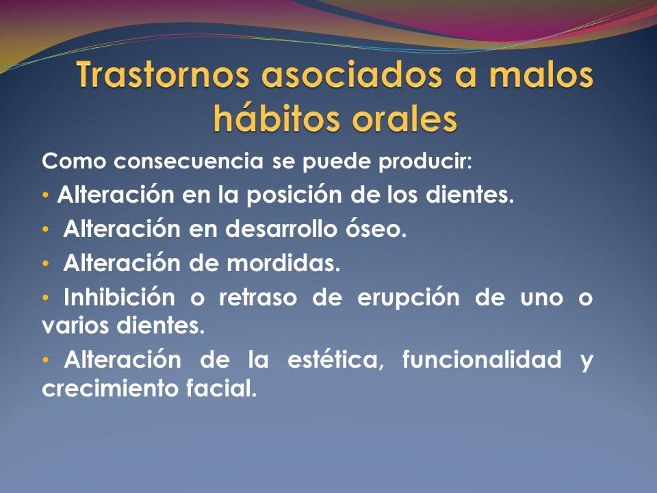Alteración en la posición de los dientes.