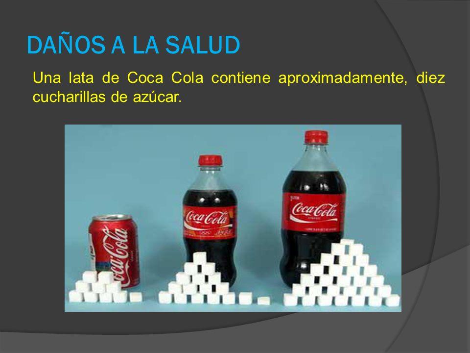 DAÑOS A LA SALUD Una lata de Coca Cola contiene aproximadamente, diez cucharillas de azúcar.