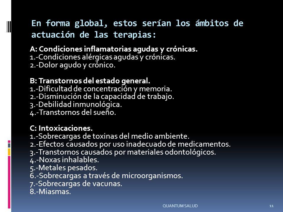En forma global, estos serían los ámbitos de actuación de las terapias: