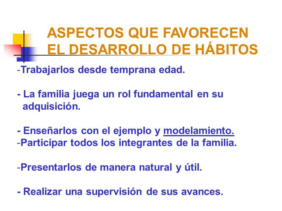 ASPECTOS QUE FAVORECEN EL DESARROLLO DE HÁBITOS