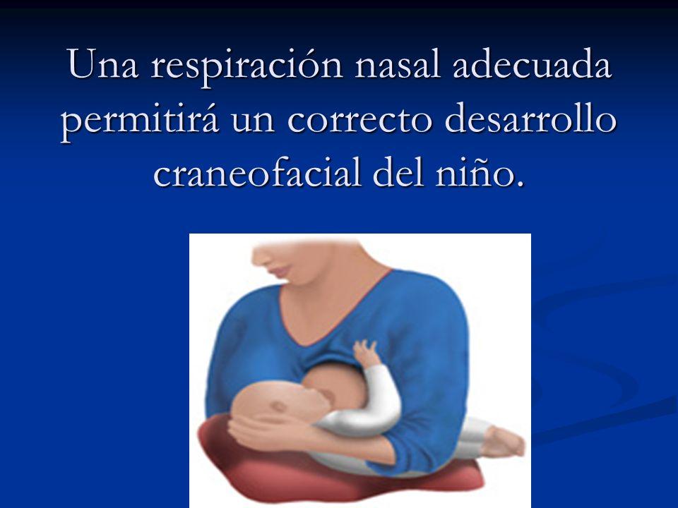 Una respiración nasal adecuada permitirá un correcto desarrollo craneofacial del niño.
