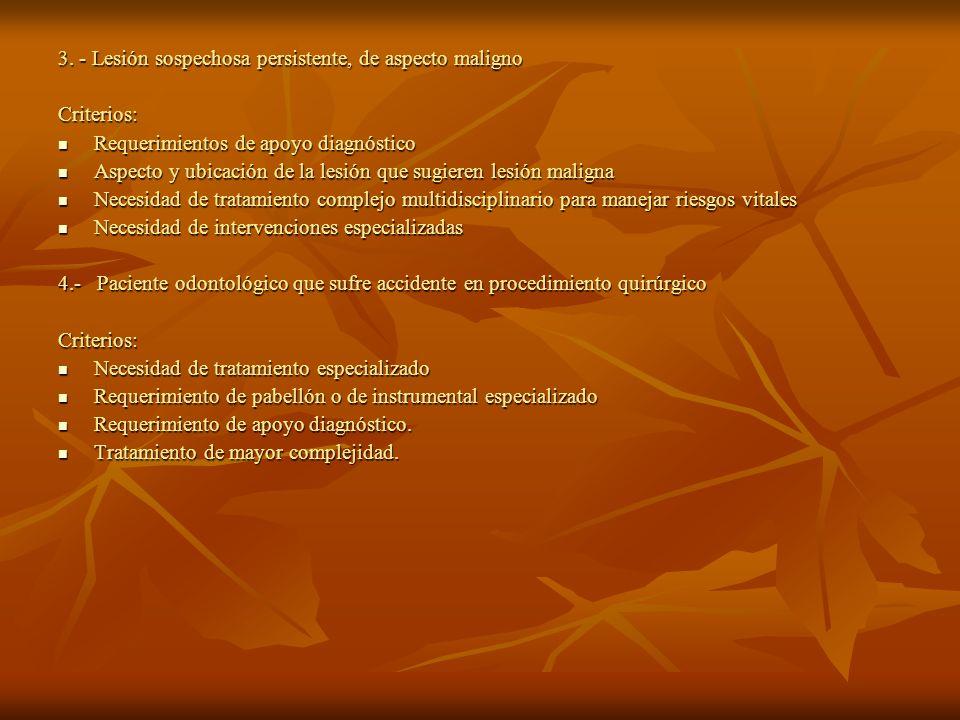 3. - Lesión sospechosa persistente, de aspecto maligno
