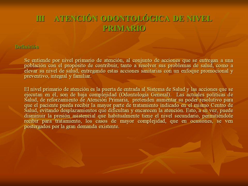 III ATENCIÓN ODONTOLÓGICA DE NIVEL PRIMARIO