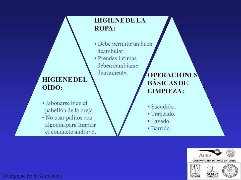 HIGIENE DE LA ROPA: OPERACIONES HIGIENE DEL BÁSICAS DE OÍDO: LIMPIEZA: