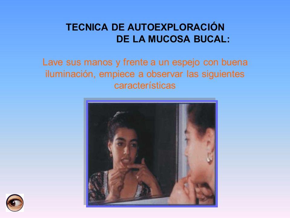TECNICA DE AUTOEXPLORACIÓN DE LA MUCOSA BUCAL: Lave sus manos y frente a un espejo con buena iluminación, empiece a observar las siguientes características