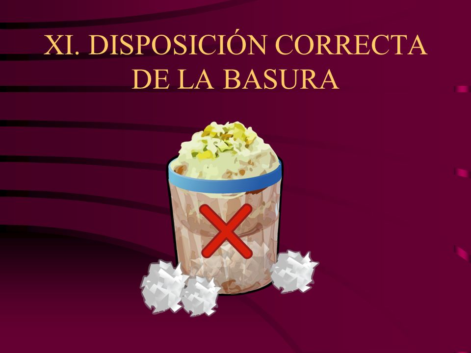 XI. DISPOSICIÓN CORRECTA DE LA BASURA