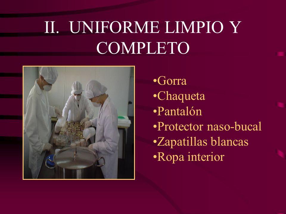 II. UNIFORME LIMPIO Y COMPLETO