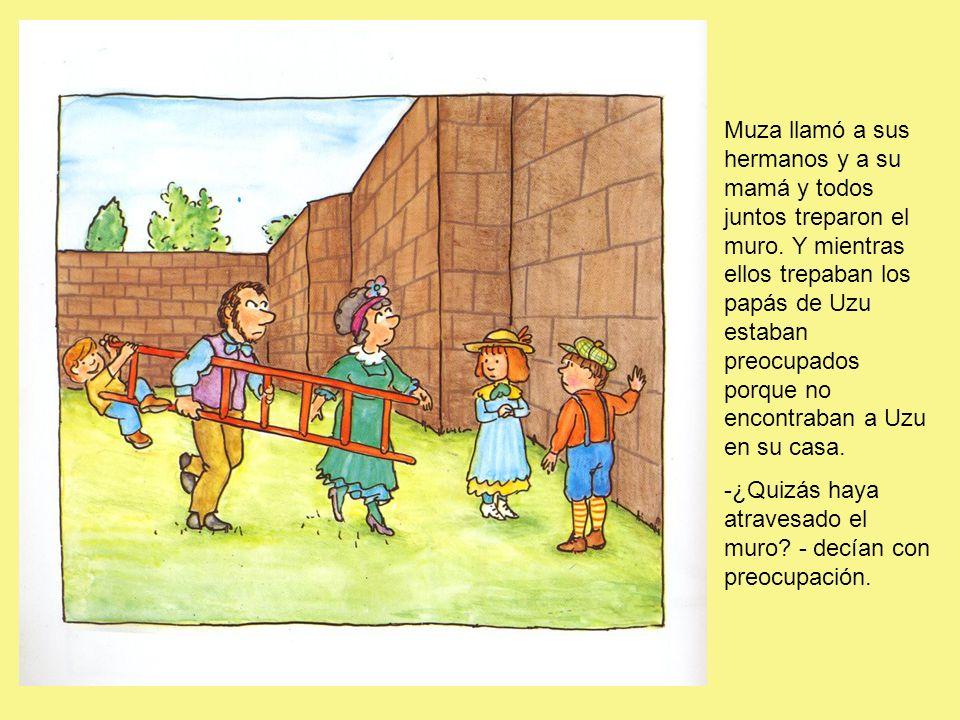 Muza llamó a sus hermanos y a su mamá y todos juntos treparon el muro
