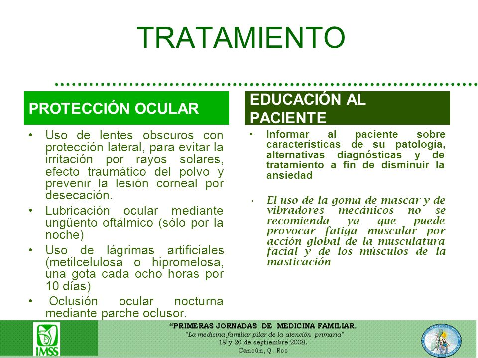 TRATAMIENTO EDUCACIÓN AL PACIENTE PROTECCIÓN OCULAR