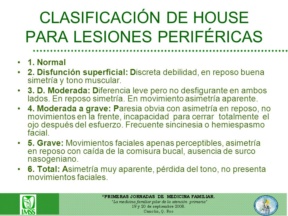 CLASIFICACIÓN DE HOUSE PARA LESIONES PERIFÉRICAS