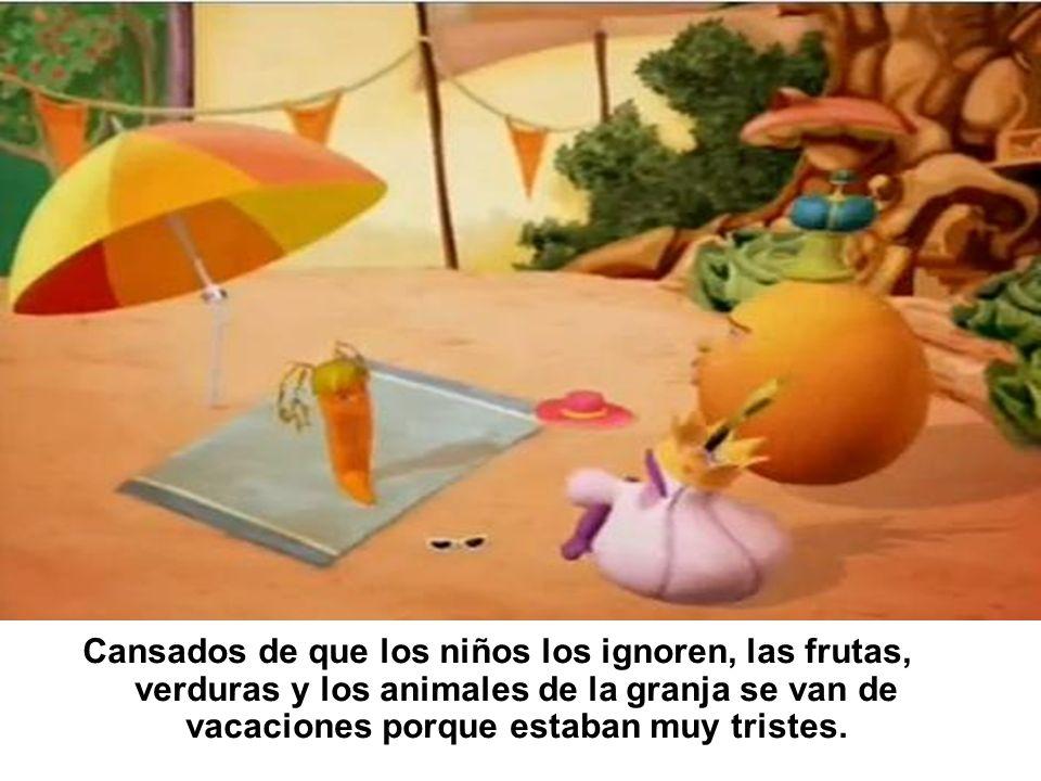 Cansados de que los niños los ignoren, las frutas, verduras y los animales de la granja se van de vacaciones porque estaban muy tristes.